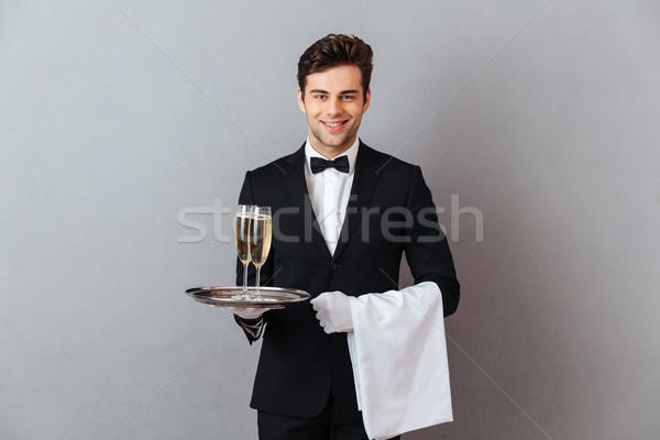 Foto stock: Feliz · jovem · garçom · vidro · champanhe
