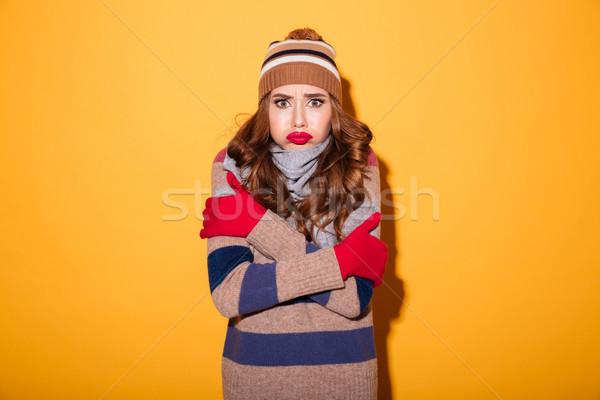Retrato chateado congelada menina inverno roupa Foto stock © deandrobot