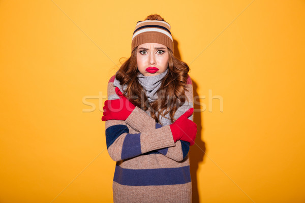 Portre üzgün dondurulmuş kız kış elbise Stok fotoğraf © deandrobot