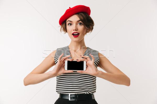 Portré boldog nő visel piros svájcisapka Stock fotó © deandrobot