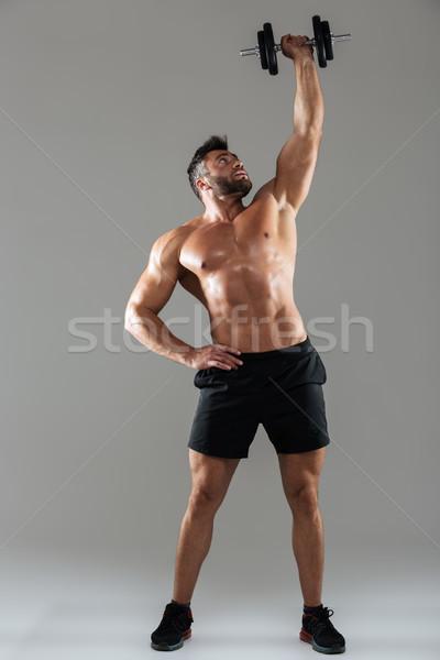 Tam uzunlukta portre sağlıklı güçlü gömleksiz erkek Stok fotoğraf © deandrobot