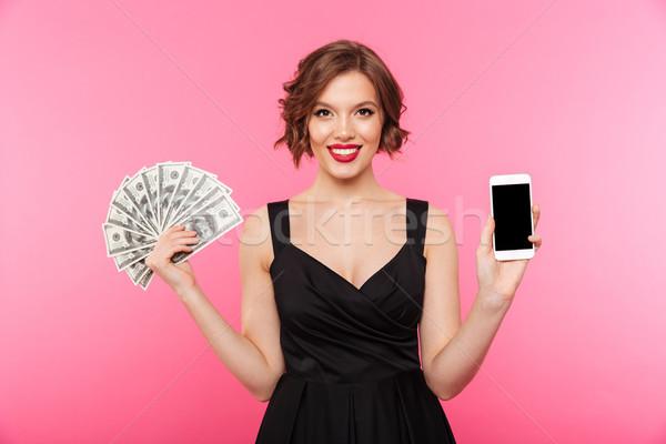 Portre kız siyah elbise para Stok fotoğraf © deandrobot