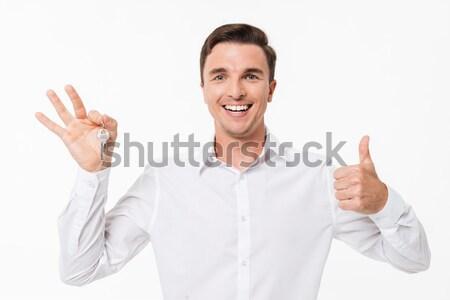 ストックフォト: 肖像 · 幸せ · 男 · 白 · シャツ