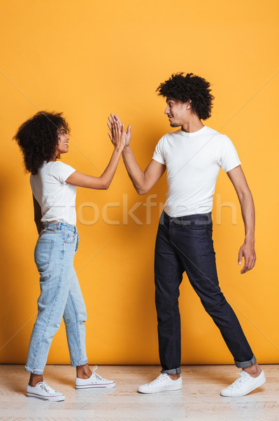 Full length portrait of a happy afro american couple Stock photo © deandrobot