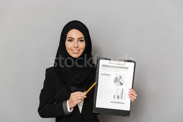 Portret szczęśliwy młodych arabski portret kobiety kobieta Zdjęcia stock © deandrobot