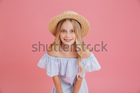 émotionnel plein d'espoir cute femme Photo stock © deandrobot