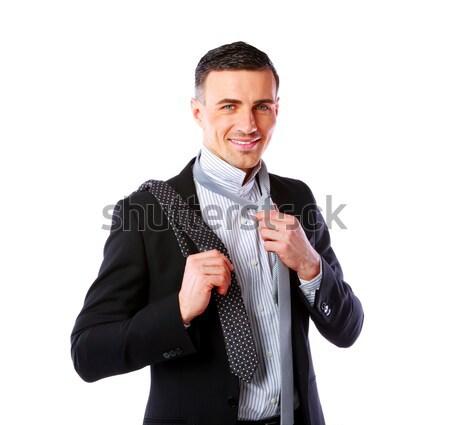 男 ネクタイ 選ぶ ビジネス お金 笑顔 ストックフォト © deandrobot