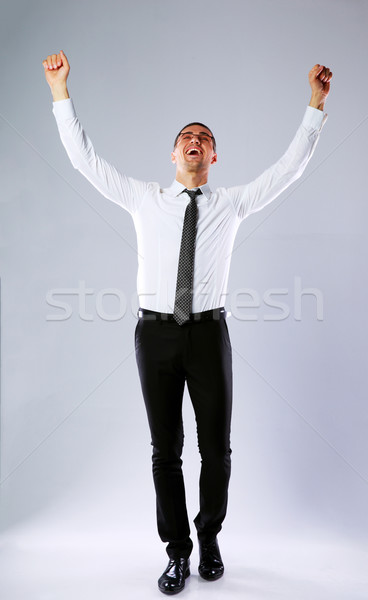 Full-length portrait of a happy businessman with hands raised up on gray background Stock photo © deandrobot