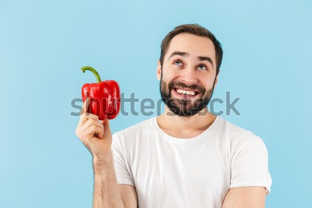 Gezond leven voedsel man vruchten Rood jongen Stockfoto © deandrobot