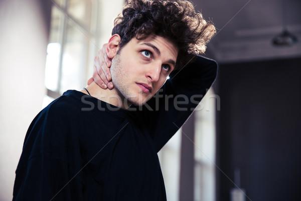 Jonge man nek gymnasium werk Stockfoto © deandrobot