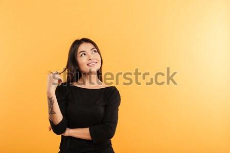 Stok fotoğraf: Portre · güzel · kız · işaret · parmak · uzak