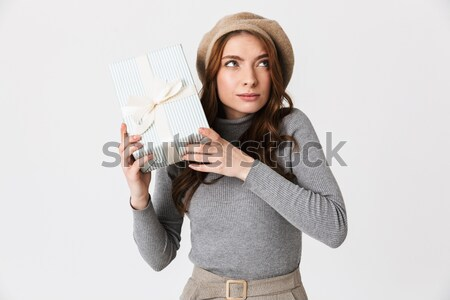 Sick woman with scarf looking at camera Stock photo © deandrobot
