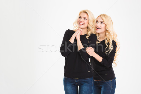 Happy amazed sisters twins looking on something Stock photo © deandrobot