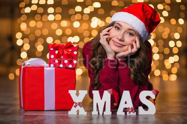 красивая женщина письма правописание слово рождество подарки Сток-фото © deandrobot