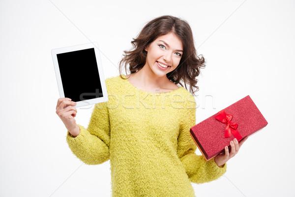Kobieta ekranu szkatułce Zdjęcia stock © deandrobot