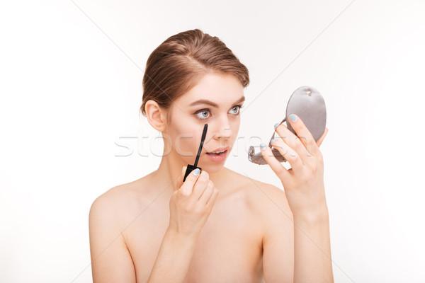 Nő jelentkezik smink szempilla szépség portré Stock fotó © deandrobot