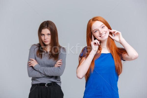 портрет два несчастный белый Сток-фото © deandrobot