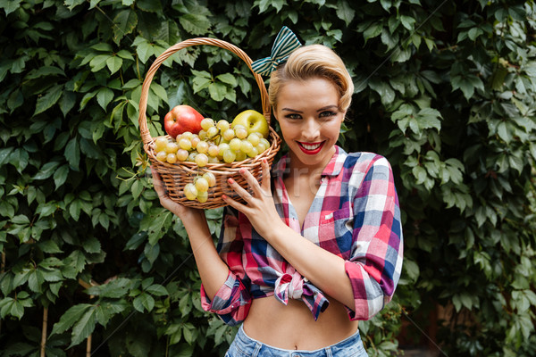 Cheerful attractive pinup girl with basket of fresh fruits Stock photo © deandrobot