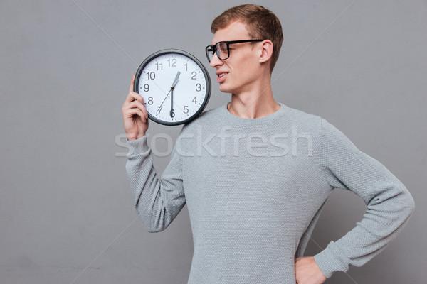 Gözlük saat omuz yalıtılmış gri Stok fotoğraf © deandrobot
