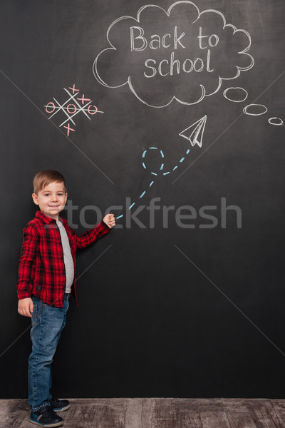 Young schoolboy over background of chalkboard pointing on school Stock photo © deandrobot