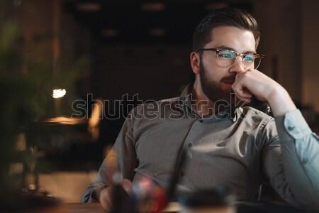 Knap web ontwerper werken laat nacht Stockfoto © deandrobot