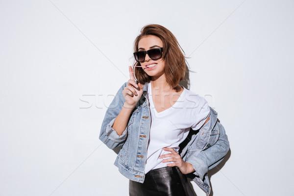 Lady Солнцезащитные очки пузыря Сток-фото © deandrobot