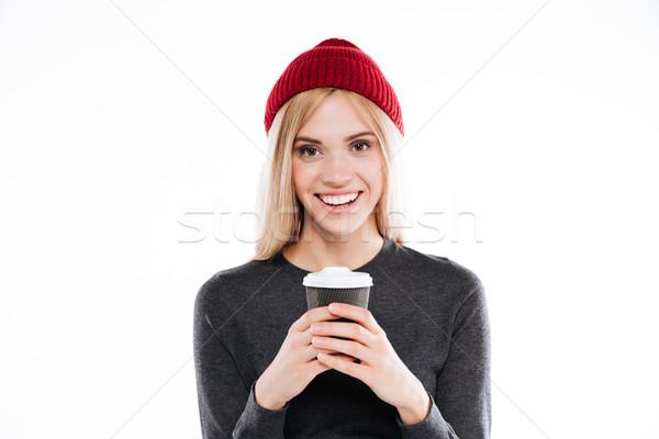 微笑的女人 毛線衣 杯 咖啡 紅色 商業照片 © deandrobot