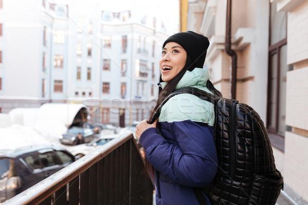 вид сбоку улыбаясь азиатских женщину одежды Сток-фото © deandrobot