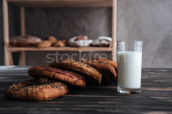 Pastries and glass of milk Stock photo © deandrobot