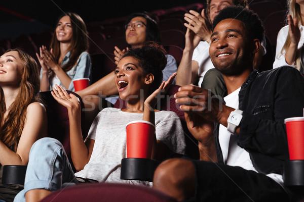 幸せ 観客 拍手 手 座って ストックフォト © deandrobot