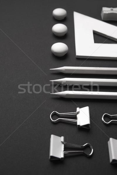 先頭 表示 画像 事務用品 黒 表 ストックフォト © deandrobot