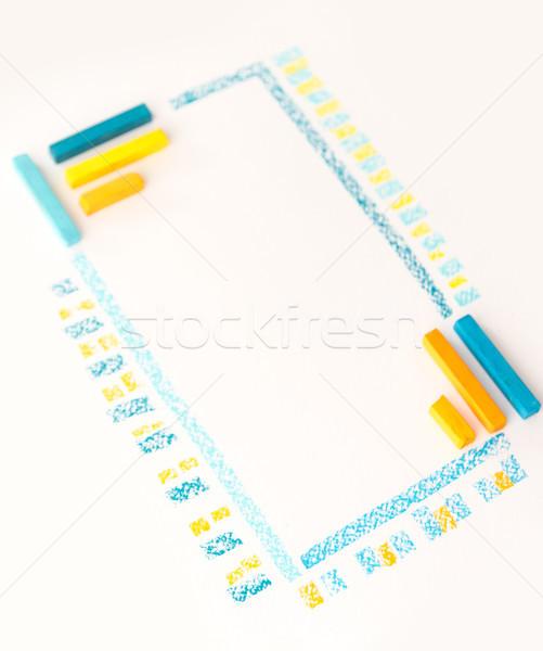цвета рисунок мелом полосатый линия белый бумаги Сток-фото © deandrobot