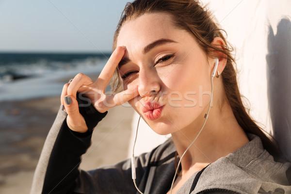 смешные спорт женщину белый Сток-фото © deandrobot