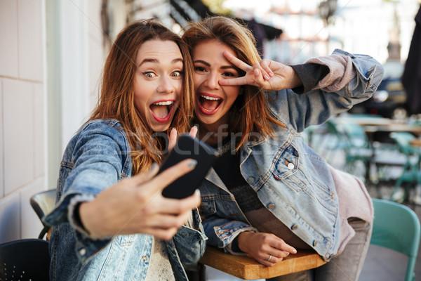 Due femminile amici jeans posa Foto d'archivio © deandrobot