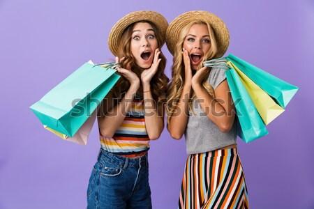 2 幸せ 女性 ポーズ お金 パッケージ ストックフォト © deandrobot