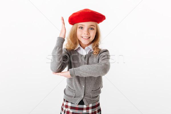 Retrato sonriendo pequeño colegiala uniforme pie Foto stock © deandrobot