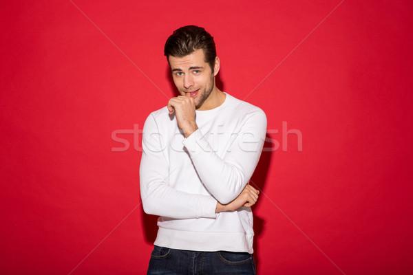 Despreocupado hombre suéter barbilla mirando Foto stock © deandrobot