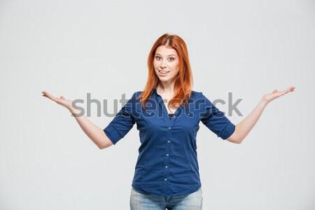 Portré tanácstalan zavart lány áll vállak Stock fotó © deandrobot