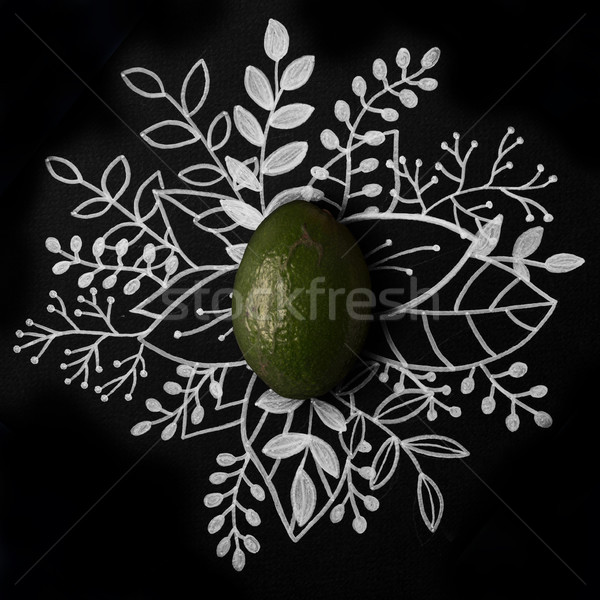 Avocado over outline floral hand drawn Stock photo © deandrobot