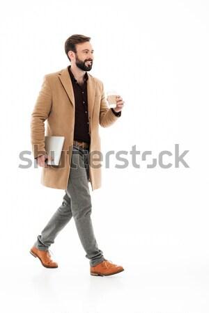 Tam uzunlukta portre genç sakallı adam kat Stok fotoğraf © deandrobot