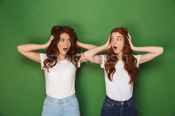 Portrait of two scared or uptight women with red hair in white t Stock photo © deandrobot