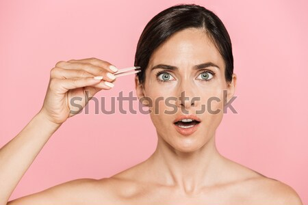 Close up portrait of a beautiful young girl Stock photo © deandrobot