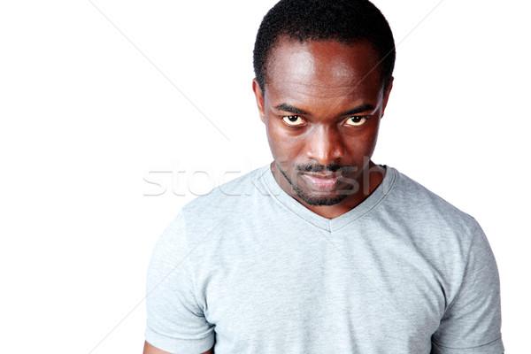 肖像 怒っ アフリカ 男 孤立した 白 ストックフォト © deandrobot