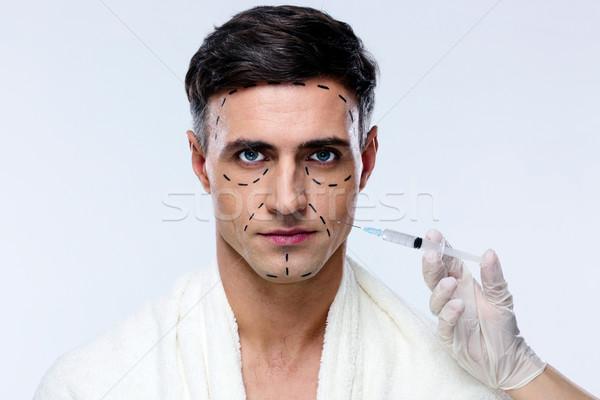 Férfi plasztikai sebészet injekciós tű arc férfiak portré Stock fotó © deandrobot