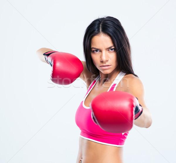 Retrato mulher luvas de boxe câmera cinza Foto stock © deandrobot