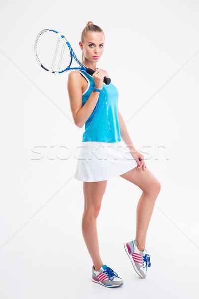 Full length portrait of a lovely female tennis player  Stock photo © deandrobot
