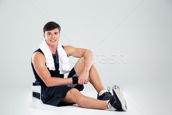ストックフォト: フィットネス · 男 · 階 · 肖像 · 幸せ