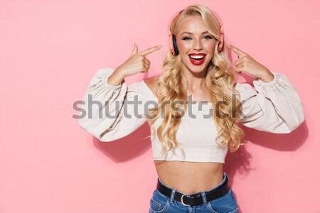 женщину вьющиеся волосы боксерская перчатка портрет Сток-фото © deandrobot
