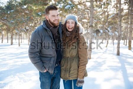 Kobieta język chłopak zimą parku Zdjęcia stock © deandrobot