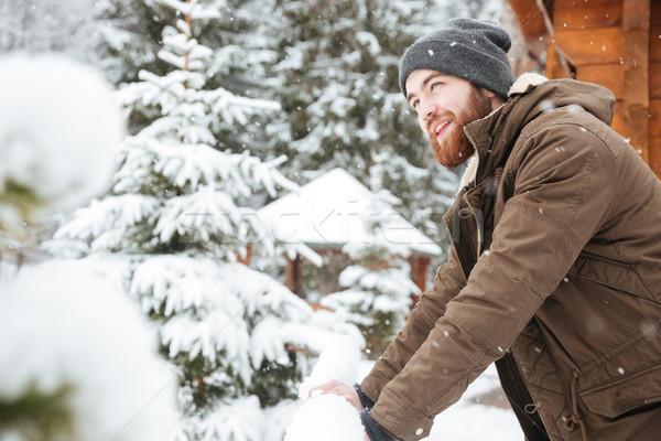 幸せ 男 立って 天気 冬 ストックフォト © deandrobot
